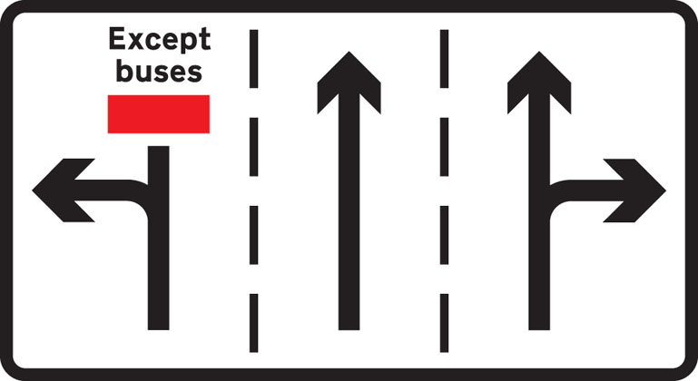 Information sign appropriate traffic lanes junction