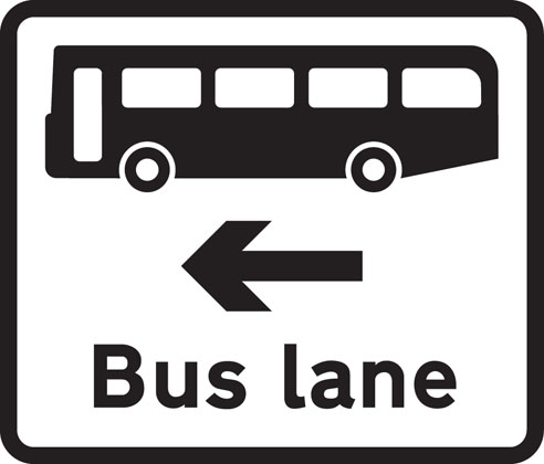 Information sign bus lane road junction ahead