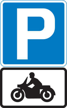 Information sign parking place solo motorcycles
