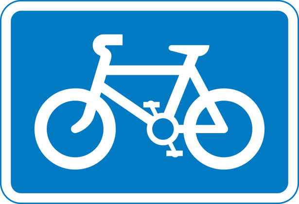 Information sign recommended route cycles