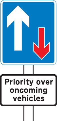 Information sign traffic priority over oncoming vehicles