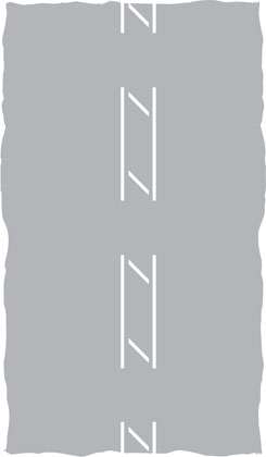 along carriageway diagonal line