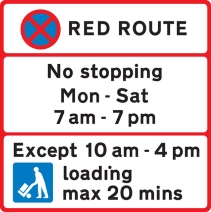 along edge carriageway red route except loading time