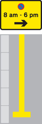 along edge carriageway single_yellow with parking