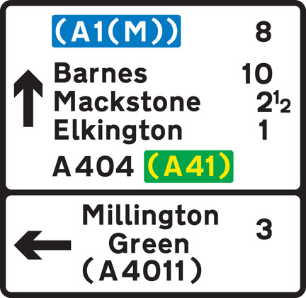 direction sign black border approach junction