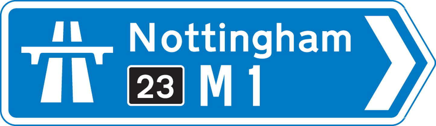 direction sign blue junction leading to motorway