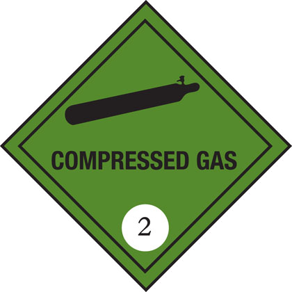 hazard warning compressed gas plate