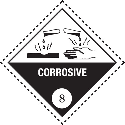 hazard warning corrosive plate