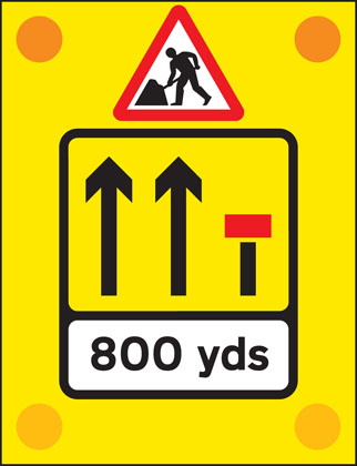 road work sign back vehicle 800 yards