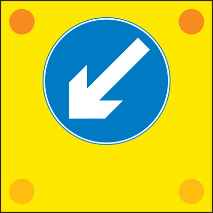 road work sign back vehicle direction arrow