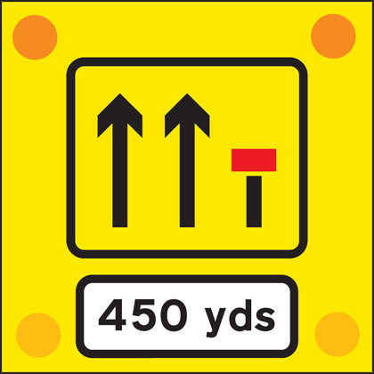 road work sign back vehicle450 yards