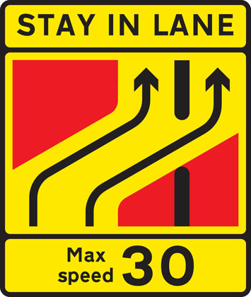 road work sign lane crossover