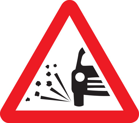 road work sign loose chippings