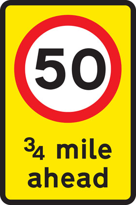road work sign mandatory speed limit