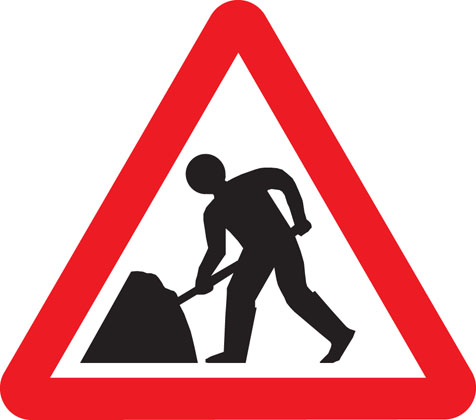 road work sign road works