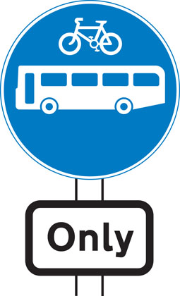 sign giving order buses cycles only