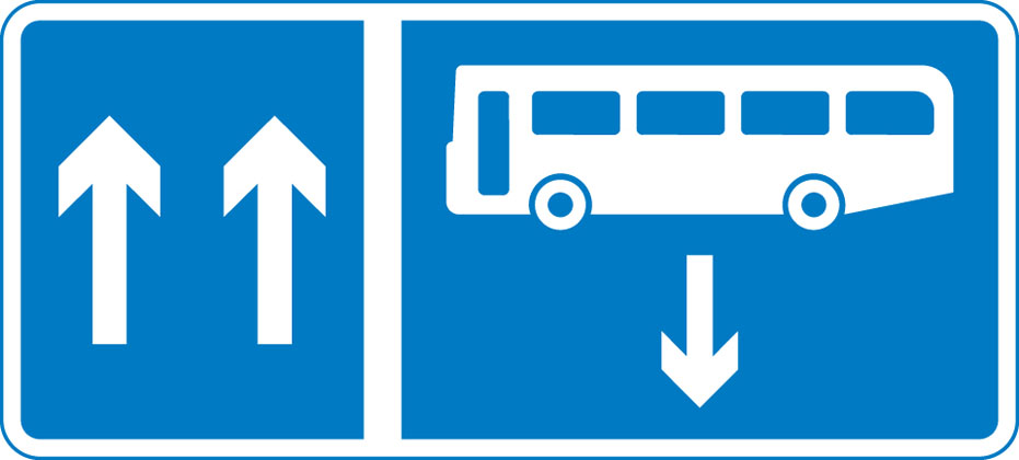 sign giving order contra flow bus lane