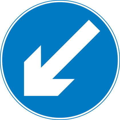 sign giving order keep left