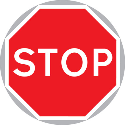 sign giving order manually stop