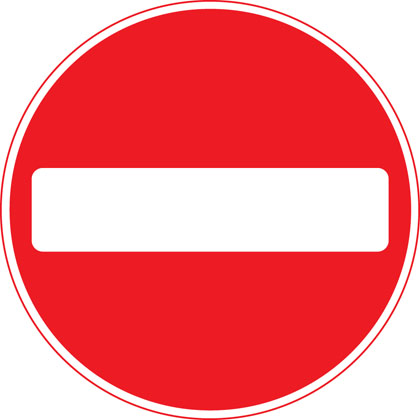 sign giving order no entry vehicular traffic