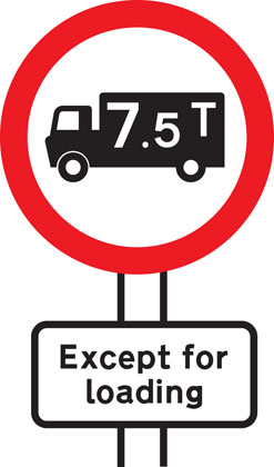 sign giving order no goods vehicle over weight