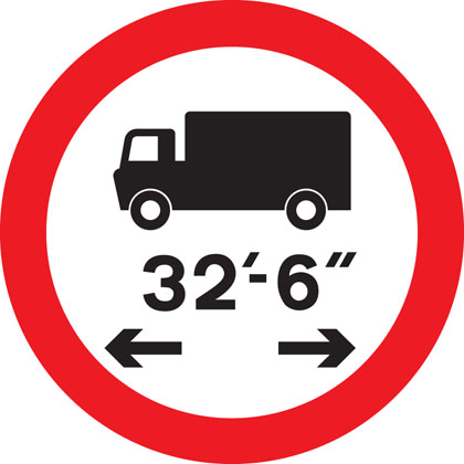 sign giving order no vehicle combination length