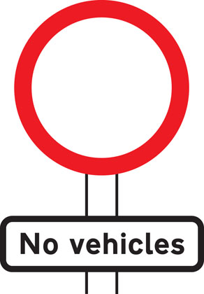 sign giving order no vehicles