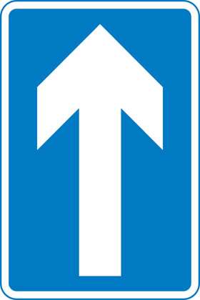 sign giving order one way traffic