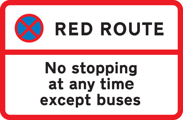 sign giving order red route