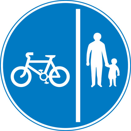 sign giving order segregated cycle pedestrian route