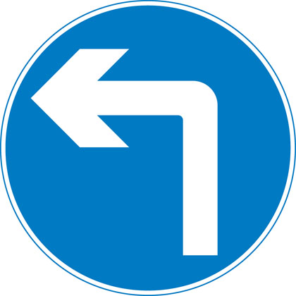 sign giving order turn left ahead