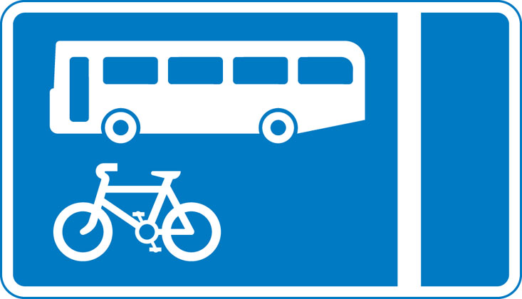 sign giving order with flow bus cycle lane