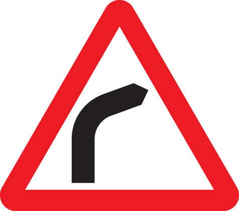 warning sign bend to right