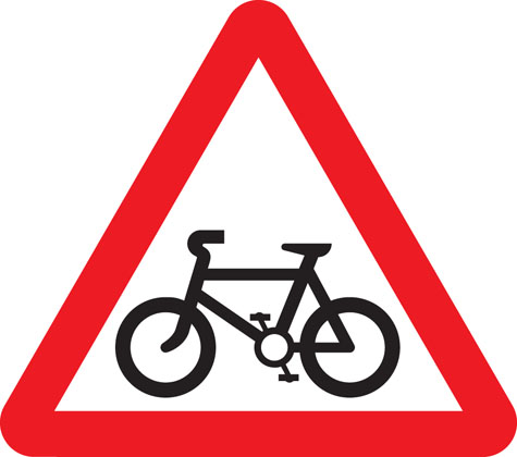 warning sign cycle route ahead