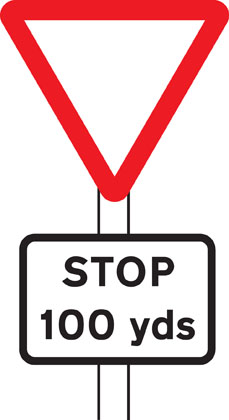 warning sign distance to stop line ahead 100 yards