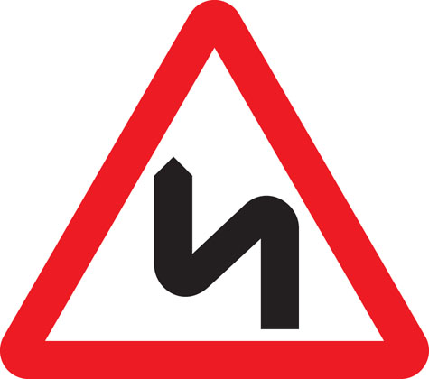 warning sign double bend