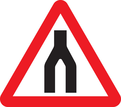 warning sign dual carriageway ends