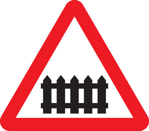 warning sign level crossing ahead barrier or gate