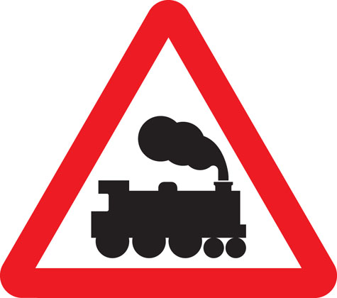 warning sign level crossing ahead without barrier