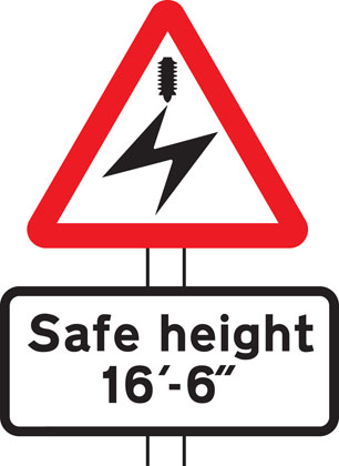 warning sign overhead electric cables