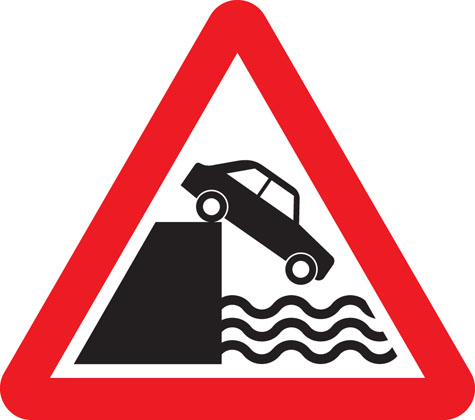 warning sign quayside or riverbank