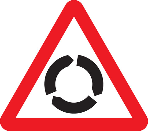 warning sign roundabout
