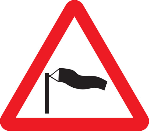 warning sign side winds