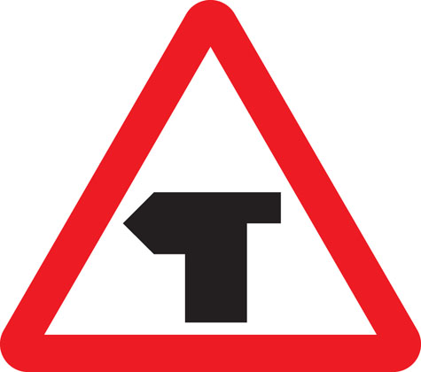 warning sign t-junction with priority
