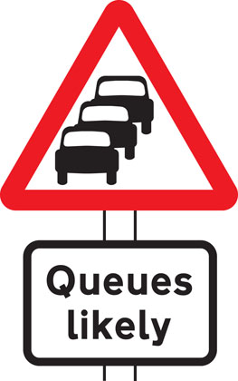 warning sign traffic queues