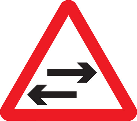 warning sign two way traffic crosses road