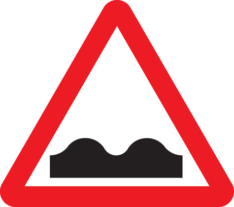 warning sign uneven road