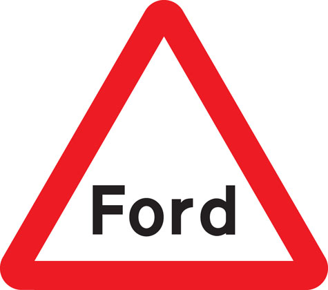 warning sign worded sign ford